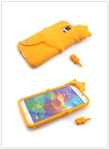 Big Dragonfly Samsung Galaxy S5 Cute 3D Diffie Cat Series Gel Silicone Rubber Case Cover+Lovely Dust Plug (Yellow) front-673418