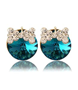 Ijewellery Ladies Party Fashion Gold Plated Non Pierced Earrings Blue Round Swarovski Elements Crystal with Rhinestone Bow Clip-On Earrings for Women Free Gift Box A49