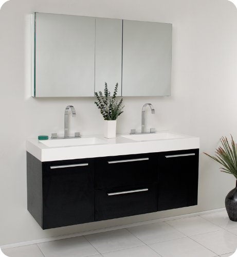 Fresca Opulento Walnut Modern Double Sink Bathroom Vanity w/Medicine Cabinet