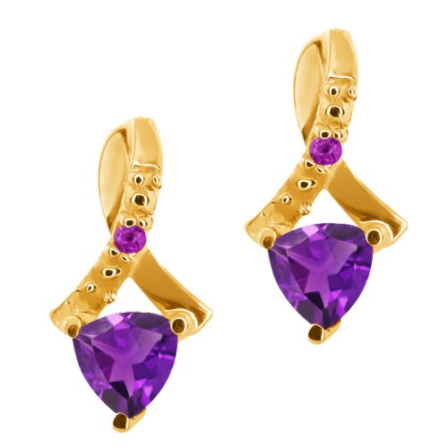 0.44 Ct Trillion Purple Amethyst Gold Plated Sterling Silver Earrings