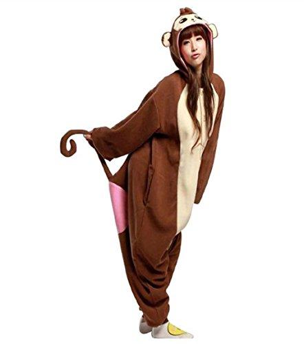TELLOYSD Animale Cartone Animato Pigiama Adulto Cosplay Costume Casual Tuta Sportiva Babbuino (formato adulto M(158-168cm))