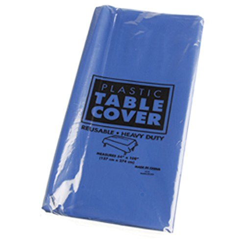 One Rectangle Large Dark Blue Heavy Duty Plastic Tablecloth - 108""