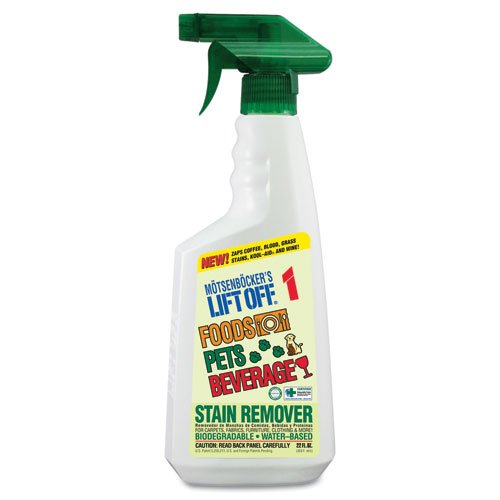 Motsenbocker's Lift-Off Products - Motsenbocker's Lift-Off - No. 1 Food, Drink & Pet Stain Remover, 22 oz. Spray - Sold As 1 Each - Biodegradable and water-based. - Removes stains such as coffee, tea, chocolate, Kool-Aid, pet stains, soda pop, wine, sauces, ketchup, blood and grass from all surfaces including carpets, clothing and upholstery. - Low-VOC formula.