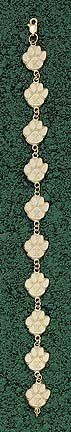 Kentucky Wildcats K Paw 7 Bracelet - 14KT Gold Jewelry by Logo Art