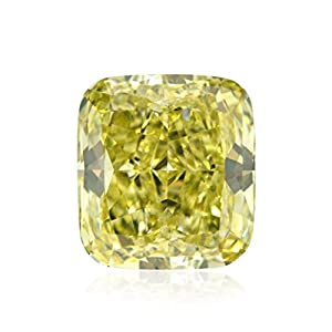 2.21 Carat Fancy Intense Greenish Yellow Loose Diamond Natural Color Cushion GIA