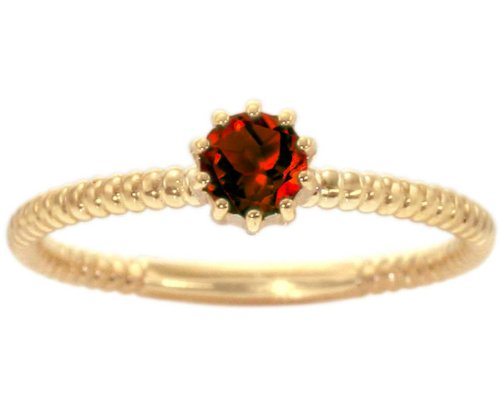 14K Yellow Gold Petite Round Gemstone Solitaire Stackable Ring-Garnet, size5.5