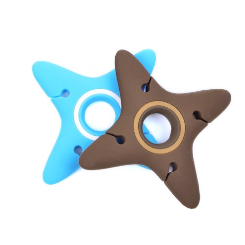 Case Star ® 2 Pcs Assorted Light Blue And Brown Ninja-Shaped Heavy Duty Silicone Bobbin Winder Wrap Organizers For Earphone/Ear Bud Cord With Case Star Velvet Bag