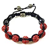 Light Siam Red 7 Crystal Ball Shamballa Style Bracelet - Gift Boxed