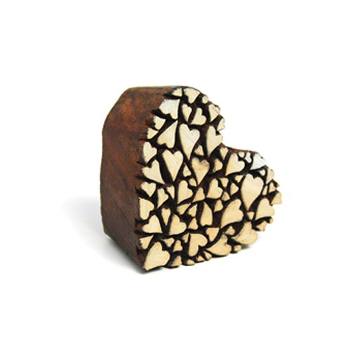 International Arrivals Blockwallah Wooden Stamp, Heart of Hearts