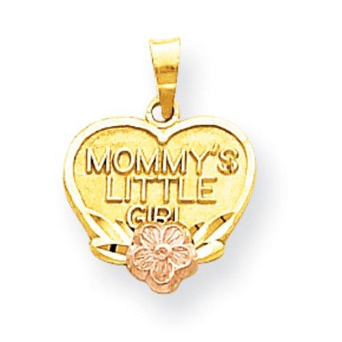 10k Two-Tone Mommy's Little Girl Heart Charm