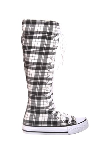 NEW Canvas Sneakers Flat Tall Punk Skate Shoes Lace up Knee High Boots FOR KIDS (3, b/white/plaid) (Knee High Shoes compare prices)