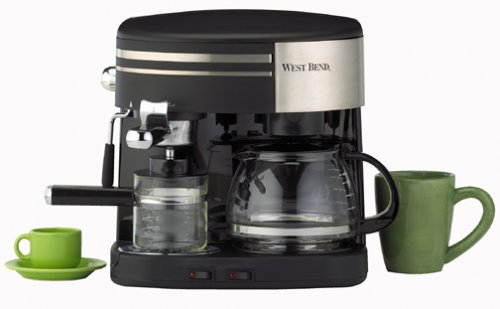 West Bend 55108 3-in-1 Coffee Center, Black and Stainless