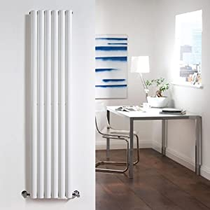 Milano Aruba - White Vertical Designer Radiator 1780mm x 354mm - Oval Vertical Column Rad - Luxury Central Heating Radiators Fixing Brackets included - 15 YEAR GUARANTEE!