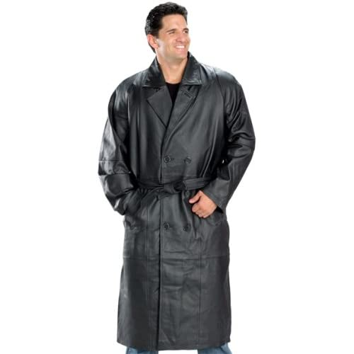 Men's Classic Double Breasted Leather Trench Coat Jacket