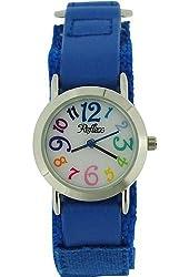 Reflex Kids White Dial Colourful Digits Blue Velcro Fabric Strap Watch KID-0074