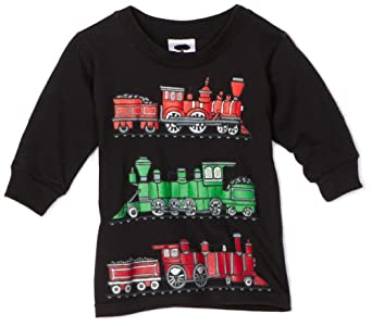 Mulberribush Baby-boys Holiday Trains Long Sleeve Tee, Black, 12 Months