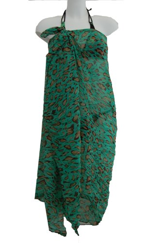 Tamari Green Leopard Print Sarong Beach Cover Up Wrap Dress For Women One Size