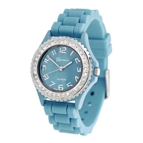 Geneva Platinum CZ Accented Silicone Watch, Small Face