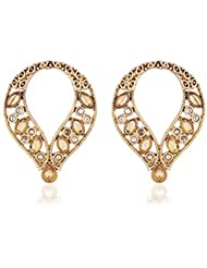 I Jewels Traditional Gold Plated American Diamond Earrings For Women EC106LW (white)