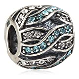 Everblingyin Entwined Bead With Blue and Clear Austrian Crystal Authentic 925 Sterling Silver Bead Fits Pandora Chamilia Biagi Troll Charms Europen Style Bracelets