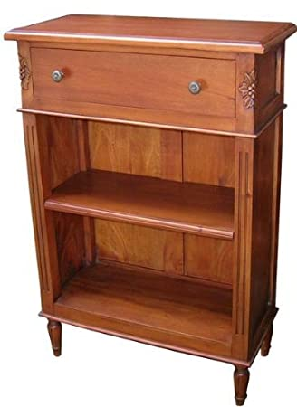 Dwarfe Solid Mahogany Bookcase H95xW65xD30cm Wax Finish Low Shelves Reproduction