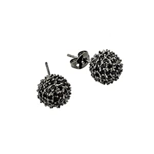 10mm Black Rhodium Plated 925 Sterling Silver Micro Pave Set Black Cubic Zirconica CZ Round Ball Push-Back Earrings