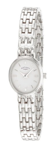 Rotary Women's Quartz Watch with White Dial Analogue Display and Silver Stainless Steel Bracelet LB02083/02