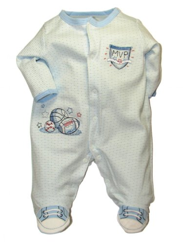 Little Me MVP Footie Blue Multi 3 Months