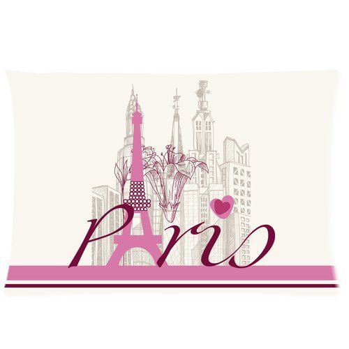Vintage Paris Eiffel Tower Custom Zippered Bedding Pillowcase Pillow Cover 20X30 (Twin Sides) front-975685