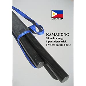 Escrima Arnis Kamagong Pair of Sticks also known as Ironwood includes Carrying Case with adjustable strap