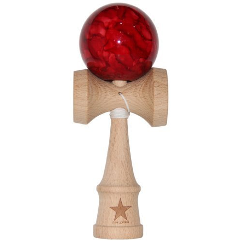 Jumbo Red Marble Super Kendama, Super Sticky, Japanese Wooden Toy, Free String, USA Seller