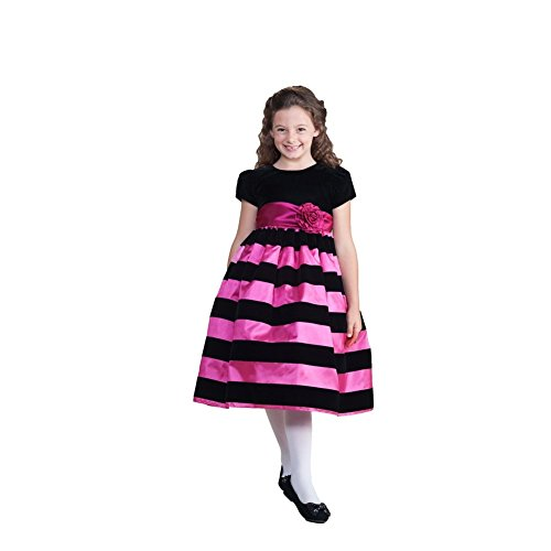 Crayon Kids Little Girls Fuchsia Stripe Special Occasion Dress 3T