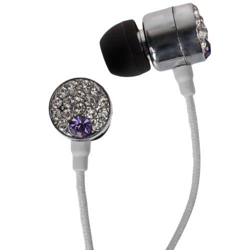 Ihip Crystal Rhinestone Gem Bling Microphone Earbud Headphones (Purple)