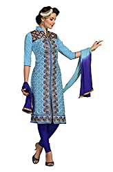Ethnic For You Chanderi Unstitched Salwar Suit Dress Materials(Sky Blue)
