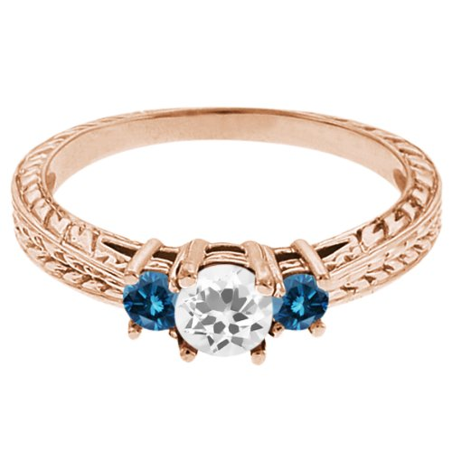 0.57 Ct Round White Topaz Blue Diamond 14K Rose Gold 3-Stone Ring