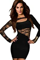 Amour- Quality Lace Covered Long Sleeves Bodycon Ball Party Evening Dress