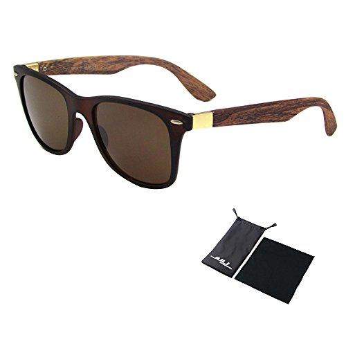 JULI Mens Womens Fashion Wayfarer Wood Bamboo Printed Wrap 52MM Sunglasses 4195WN