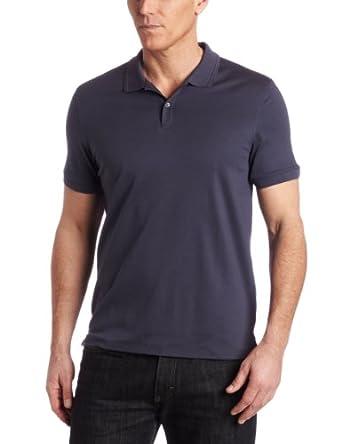 Calvin Klein Men's Short Sleeve Two Button Liquid Polo Shirt, India Ink, Small