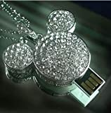 Mickey Mouse Crystal USB Flash Drive with Necklace:8GB(silver)