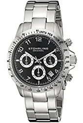 Stuhrling Original Concorso Mens Sports Watch - Analog Quartz Chronograph Watch - Black Dial Date Display Wrist Watch for Men - Mens Designer Watch with Stainless Steel Bracelet 665B.01