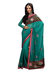Prafful Gorgette Saree With Unstitched Blouse - B00KNULV5A