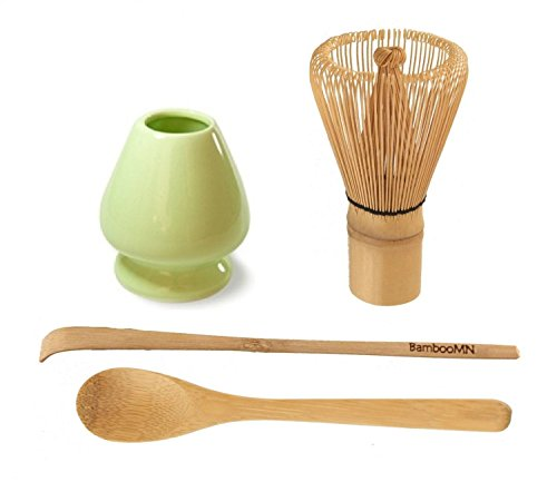 Buy Matcha Green Tea Whisk Set - Set of 4 Items. Whisk + Scoop + Tea Spoon + GREEN Whisk Holder.