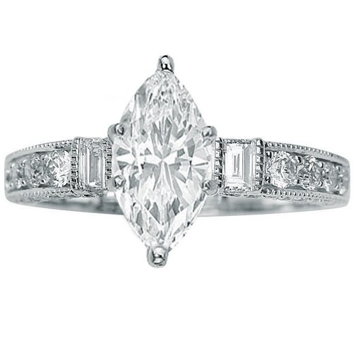1.43 Carat GIA Certified Marquise Cut / Shape 14K White Gold Gorgeous Prong Set Round And Half Bezel Baguette Diamond Engagement Ring