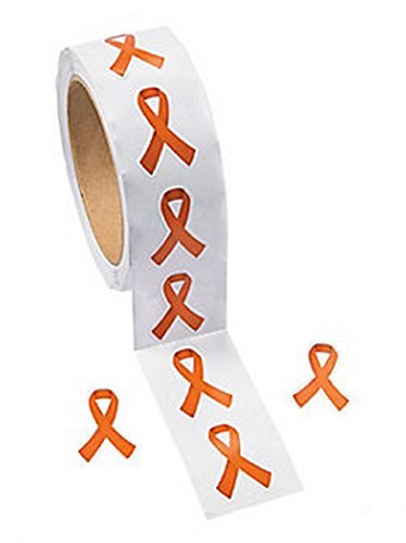 Orange Awareness Ribbon Stickers (500 Stickers) - 1