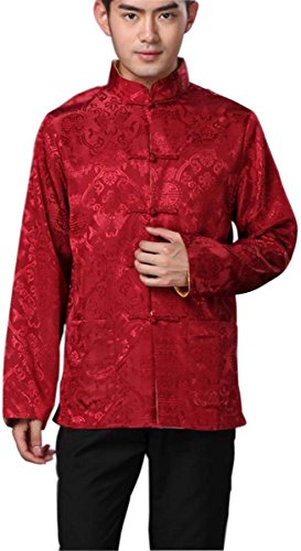 Blingland Chinese Traditional Uniform Top KungFu Shirt for Men US L Asia XL-Red+Gold