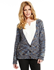 Indigo Collection Bramble Stitch Knitted Cardigan with Mohair