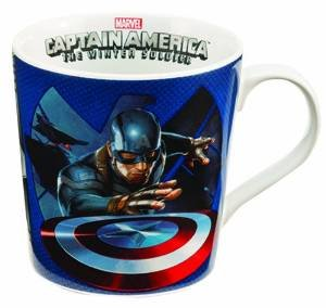 Vandor 26066 Marvel Captain America Winter Soldier 12 Oz Ceramic Mug, Red, White, And Blue