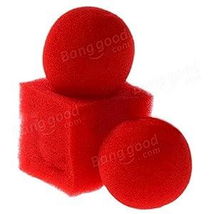 Paleo Kingmagic Magic Ball To Square Sponges Tricks Set Red