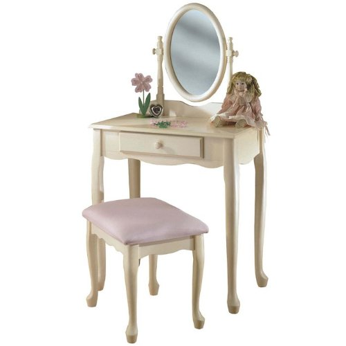 Kids Vanity Set with Queen Anne Legs in Off White Finish