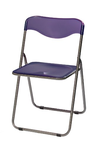 Meco 6 Pack Translucent Folding Chair Sterling Frame and Purple Plastic Seat